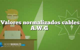 Valores normalizados cables A.W.G